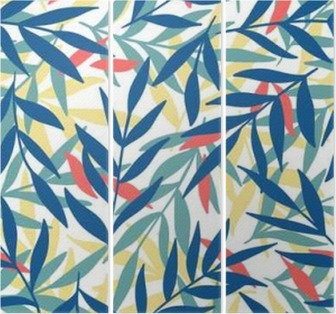 Exotic leaves, rainforest. Triptych