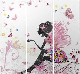 Flower Fairy in the environment of butterflies Triptych