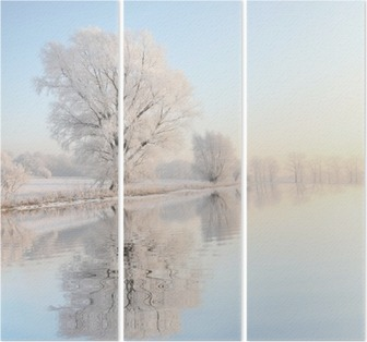 Frosty winter tree against a blue sky with reflection in water Triptych