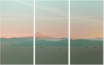 Geometric Mountain Landscape with Gradient Sky Triptych