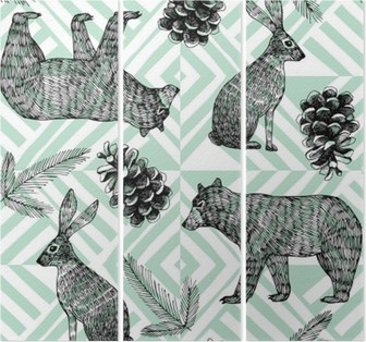 hand drawn winter trendy pattern, geometric background Triptych