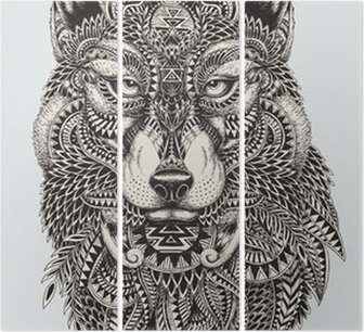 Highly detailed abstract wolf illustration Triptych
