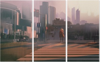 lonely woman standing on urban pedestrian crossing,illustration painting Triptych