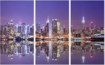 Manhattan Skyline with Reflections Triptych