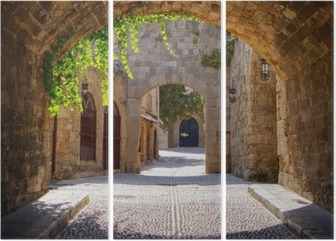 Medieval arched street in the old town of Rhodes, Greece Triptych