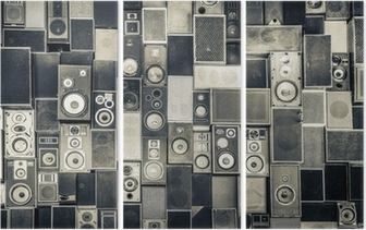 Music speakers on the wall in monochrome vintage style Triptych