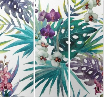 Orchid hibiscus leaves pattern, watercolor Triptych