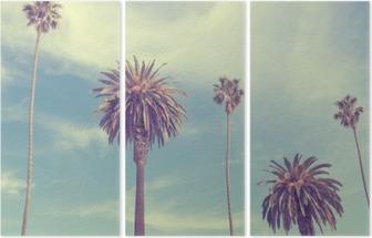Palm trees at Santa Monica beach. Triptych