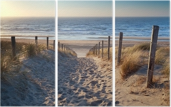 path to North sea beach in gold sunshine Triptych