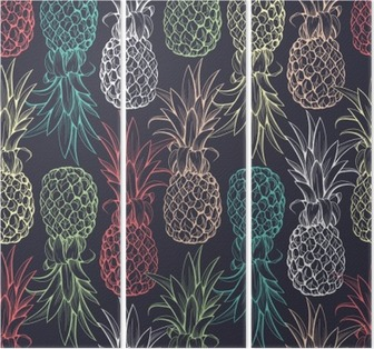 Pineapples seamless pattern Triptych