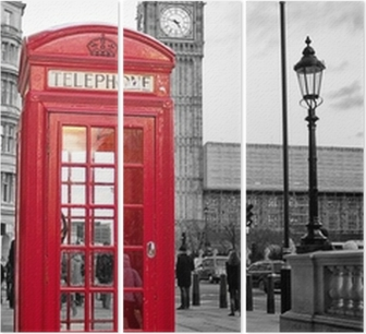 Red phone booth in London with the Big Ben in black and white Triptych
