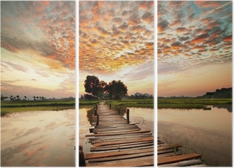 River on sunset Triptych