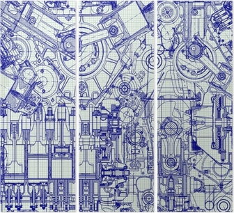 Seamless background. Drawing old engine on graph paper. Triptych