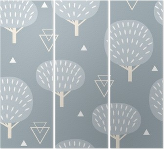 Seamless pattern in modern Scandinavian style. Vector geometry background of north nature. Triptych