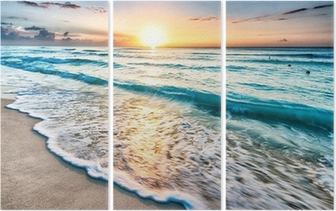 Sunrise over Cancun beach Triptych