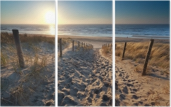 sunshine over path to beach in North sea Triptych