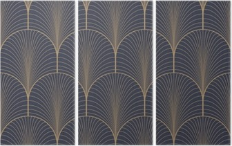 Vintage tan blue and brown seamless art deco wallpaper pattern vector Triptych