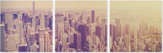 Vintage toned Manhattan skyline at sunset, NYC, USA. Triptych