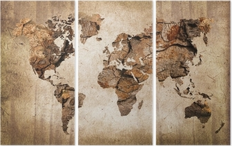 Vintage wood world map Triptych