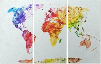 Watercolor world map Triptych