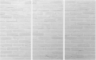 White grunge brick wall texture background Triptych