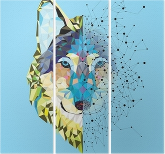 Wolf head in geometric pattern with star line vector Triptych