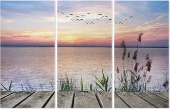 Wooden jetty at sunset Triptych