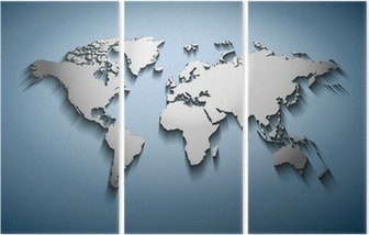 World map embossed wall mural pixers we live to change world map embossed triptych gumiabroncs Gallery