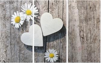 Zwei weiße Herzen & Gänseblümchen Triptych