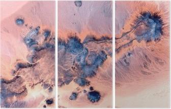 Triptychon Abstrakte Landschaften der Wüsten Afrikas, Abstrakt Naturalismus, abstrakte Fotografie Wüsten Afrikas aus der Luft, abstrakten Surrealismus, Fata Morgana in der Wüste, abstrakten Expressionismus,