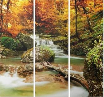 Triptychon Autumn creek Wald mit gelben Bäume