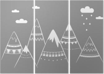 Triptychon Bergkinder, Hand gezeichnete Vektorillustration