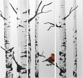 Triptychon Bird of Birken, Vektor-Zeichenprogramm mit editierbaren Elemente.