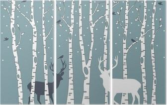 Triptychon Birken mit Rehen, Vektor-Hintergrund