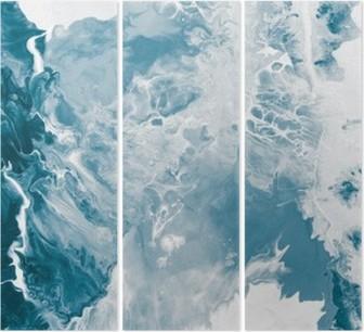 Triptychon Blau Marmor Textur