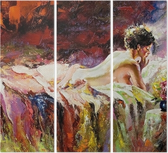 Triptychon Das nackte Mädchen auf einem Bett