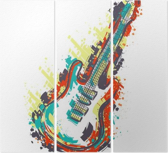 Triptychon Elektrische Gitarre. Hand gezeichnete Grunge-Stil-Kunst ...