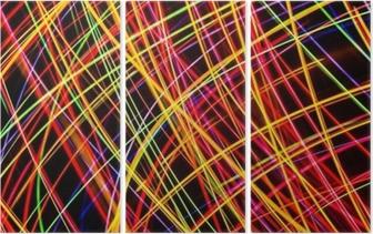 Triptychon Moderne Kunst. Neonlichtbeschaffenheit der langen Belichtung.