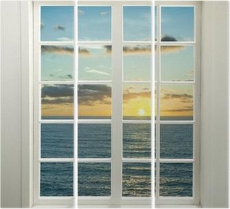 Triptychon Moderne Wohn-Fenster mit Sonnenuntergang über dem Meer und Wolken