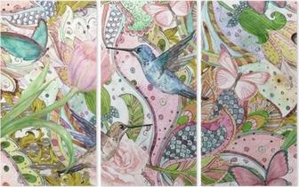 Triptychon Nahtlose Beschaffenheit der Mode mit ethnischer Blumenverzierung und Kolibris. Aquarellmalerei