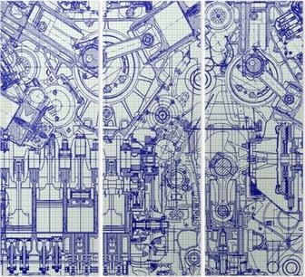 Triptychon Nahtlose Hintergrund. Zeichnung alten Motor auf Millimeterpapier.