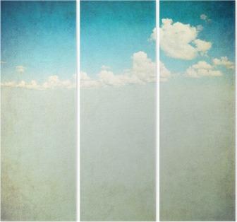 Triptychon Retro-Bild des bewölkten Himmel