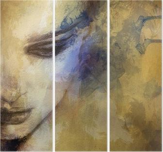 Triptychon Schöne Frau Gesicht. Aquarell Illustration