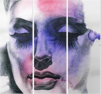 Triptychon Schöne Frau. Handgemalte Modeillustration