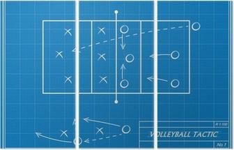 Fototapete Volleyball Taktik auf Blaupause • Pixers® - Wir leben, um ...