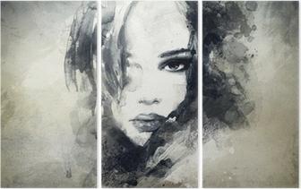 Triptych Abstrakt kvinne portrett