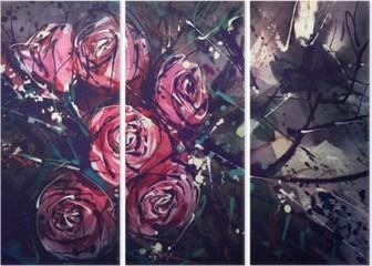 Triptych Akvarell maleri stil roser Abstrakt kunst.