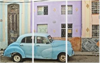 Triptych Cuba, La Habana, Broken Down Vintage Car