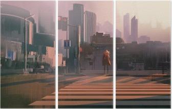 Triptych Ensom kvinne som står på urban fotgjengerovergang, illustrasjonsmaleri