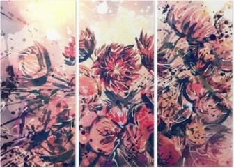 Triptych Tegning, akvarell bukett av halmblomst